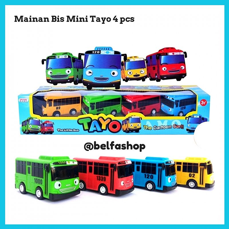 Mainan Bus Tayo Isi 4 Pcs Pullback Set / Bus Mini Tayo The Little Bus
